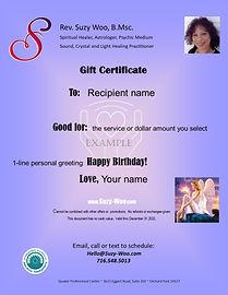 Suzy Woo Healer Gift Certificate