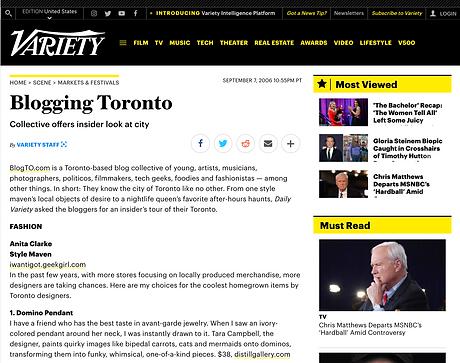 Screenshot of Blogging Toronto in Variety Magazine