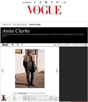 Screenshot of the Vogue Italia interview with Anita Clarke