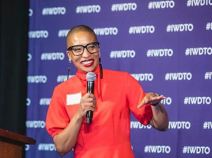Anita on presenting on stage at DevTO IWD 2020