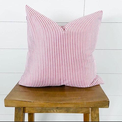 Pillow red/white stripes