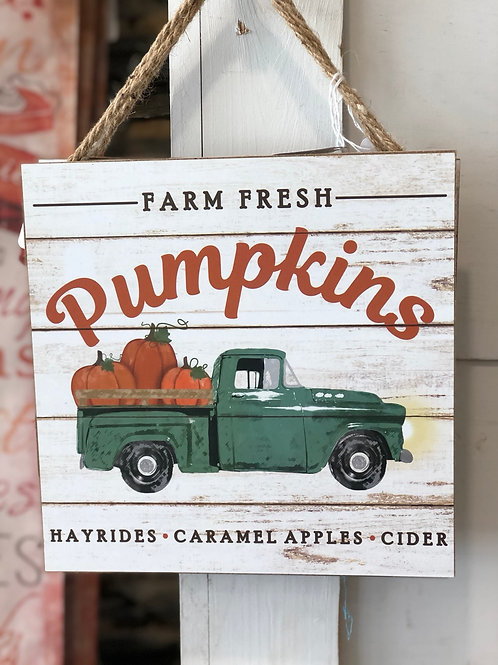 Sign - truck with pumpkins
