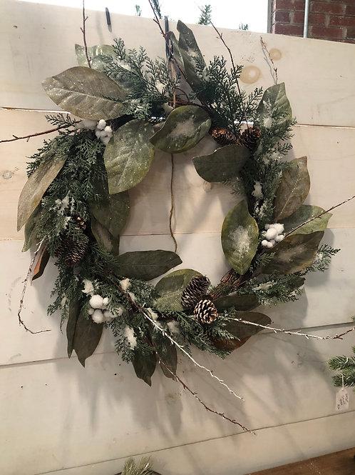 Magnolia Frosted Cone Wreath