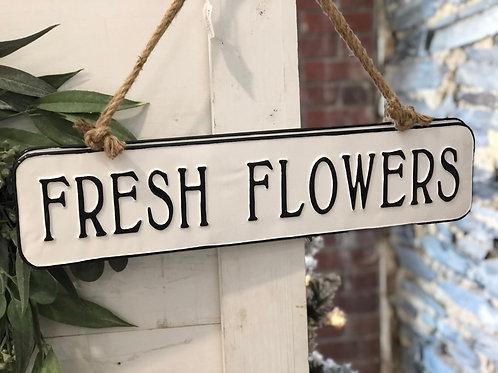 Fresh flowers metal sign
