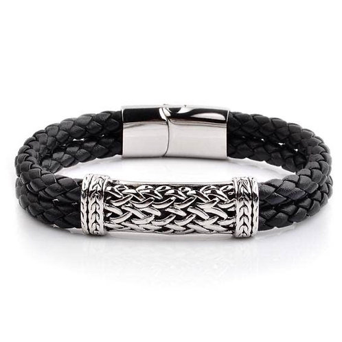 Men's Bracelet - Antiqued ID Braided