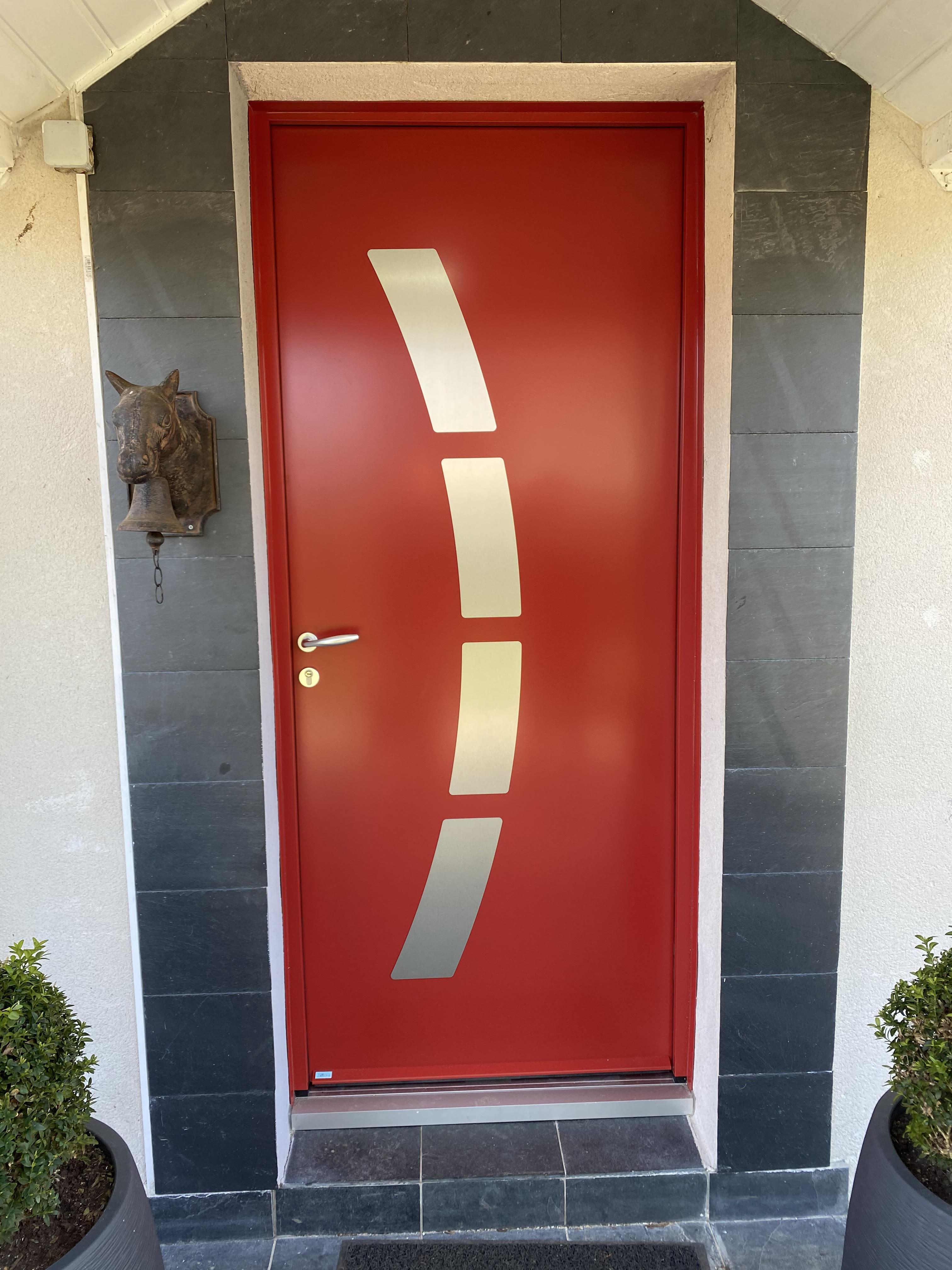 Porte Acier  Aluminium Rouge 3004