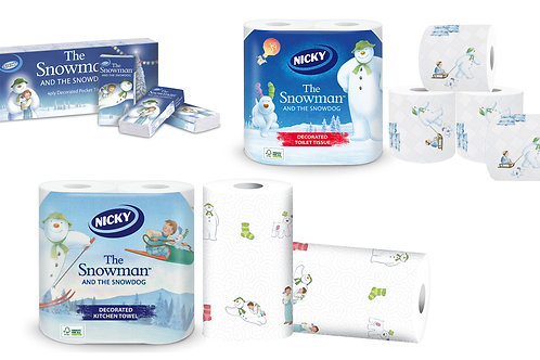 Nicky Snowman Xmas Toilet Rolls, Kitchen Rolls & Pocket Tissues Gift Set