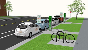 concept image of electric vehicle share charging hub