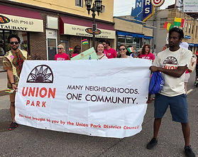 People holding Union Park banner