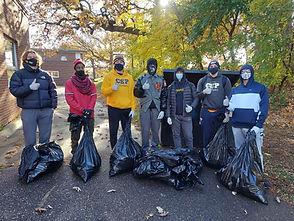 Volunteers helping with neighborhood cleanup