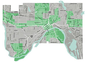 map of priority areas from St. Paul Pedestrian Plan