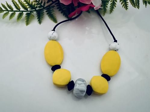 Yellow/Black Swirl necklace