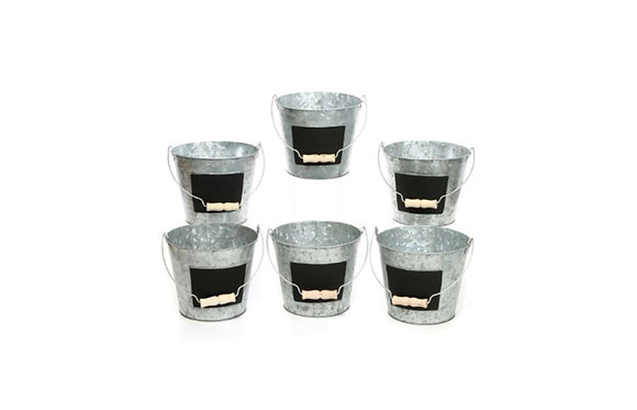 Galvanized Metal Pails with Chalkboard