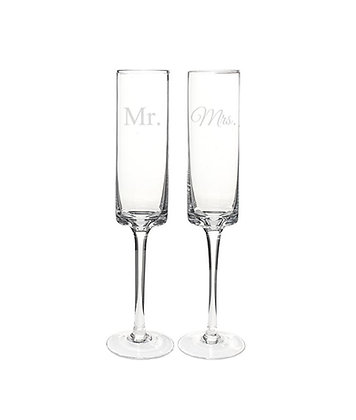 Contemporary Mr. & Mrs. Champagne Flutes