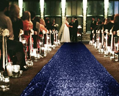 Navy Sequin Aisle Runner