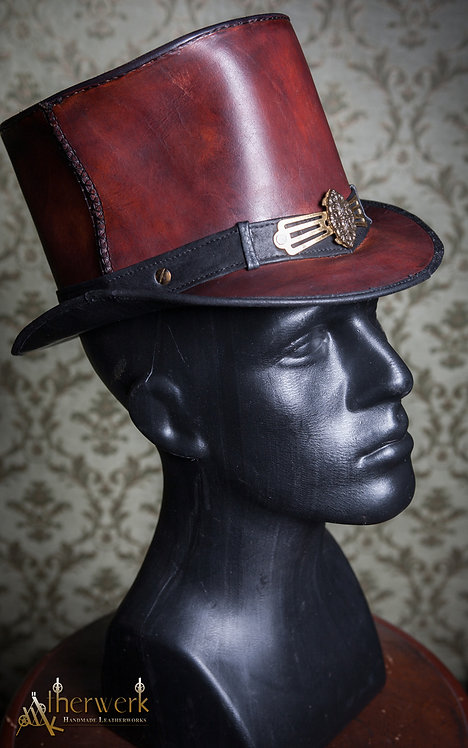 Leder Zylinder rotbraun / Ornate Leather TopHat redbrown,  Size 55,5-57cm