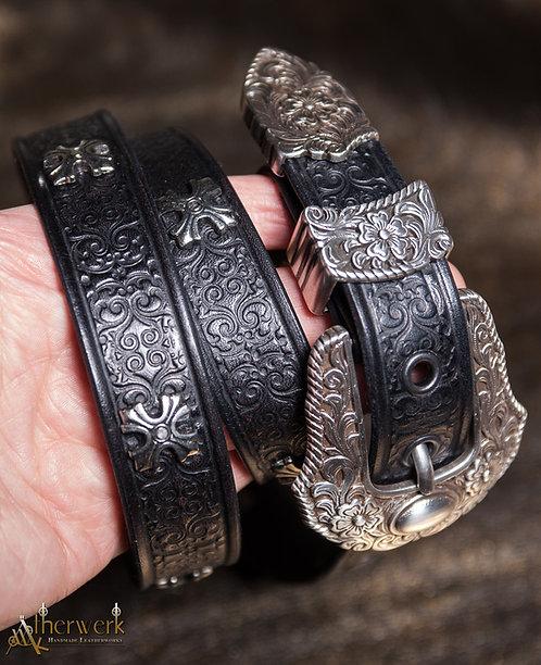 Damen Ledergürtel schwarz / Lady Leatherbelt  black Size: 85-95cm