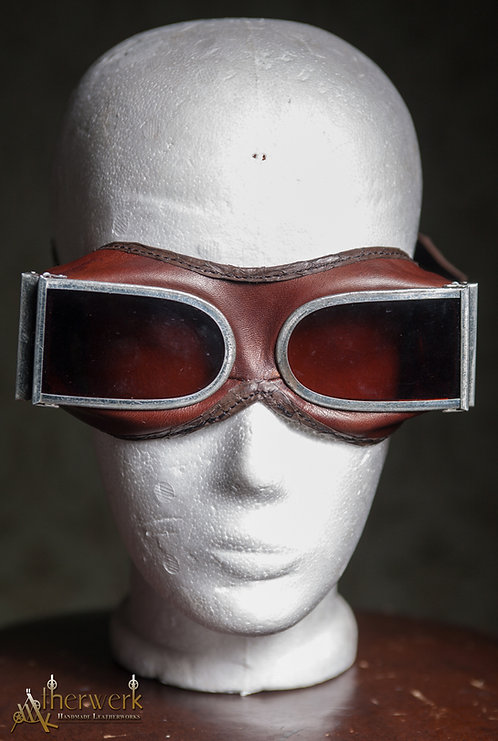 Fliegerbrille Leder / Aviator Glasses No.4