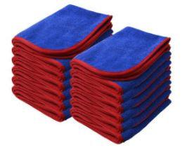 "NANOSKIN BLUE Power Shine Microfiber Towel w/ RED silk edge 16"" x 24"" 380GSM"