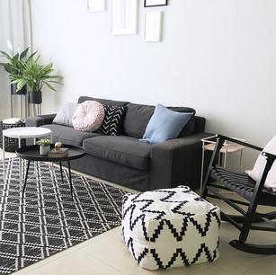 עיצוב סלון, עיצוב נורדי, כריות נוי, ספה
