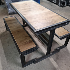 Steel and Oak table & bench