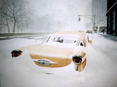 NYC, tempête de neige (d'après Doisneau)