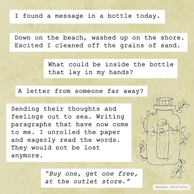 Message in A Bottle - Mini Paragraphs