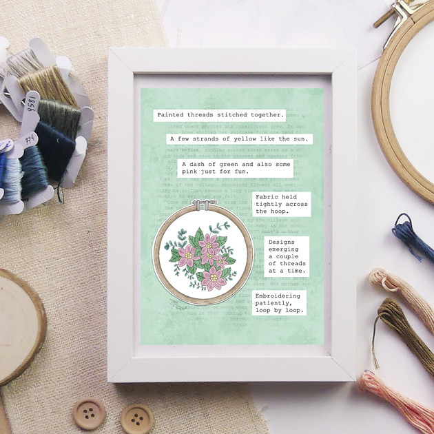 Embroidery Quote Print - Meadow Afternoo