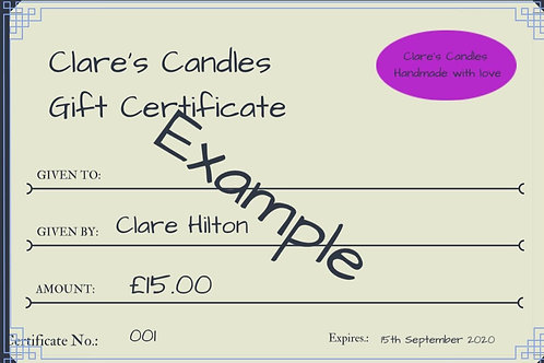 Clare's Candles £15 Gift Certificate