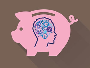 Image of piggy bank with a symbol of the mind on it