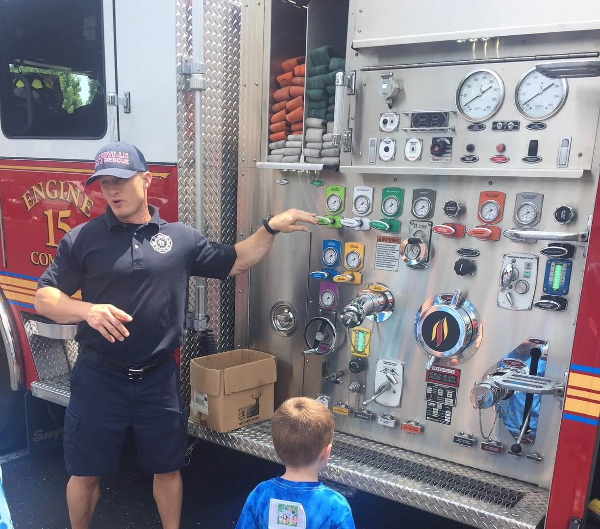 We saw a firetruck and the firefighters explained how they help people