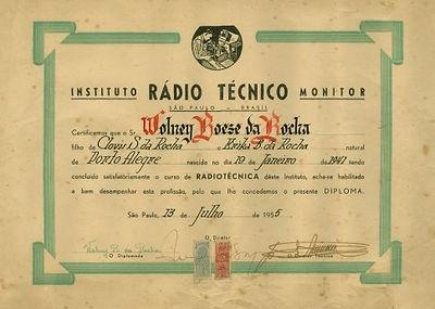 Diploma Instituto Rádio Técnico Monitor