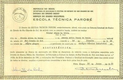 Diploma curso técnico Escola Técnica Parobé