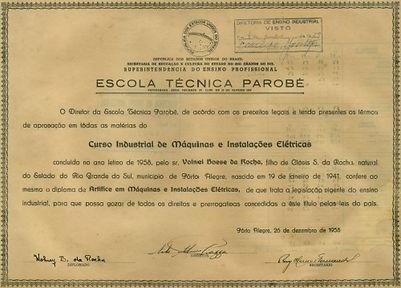 Diploma curso industrial Escola Técnica Parobé