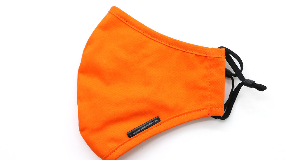Kids Size Mask, Tangerine Orange Cotton Twill