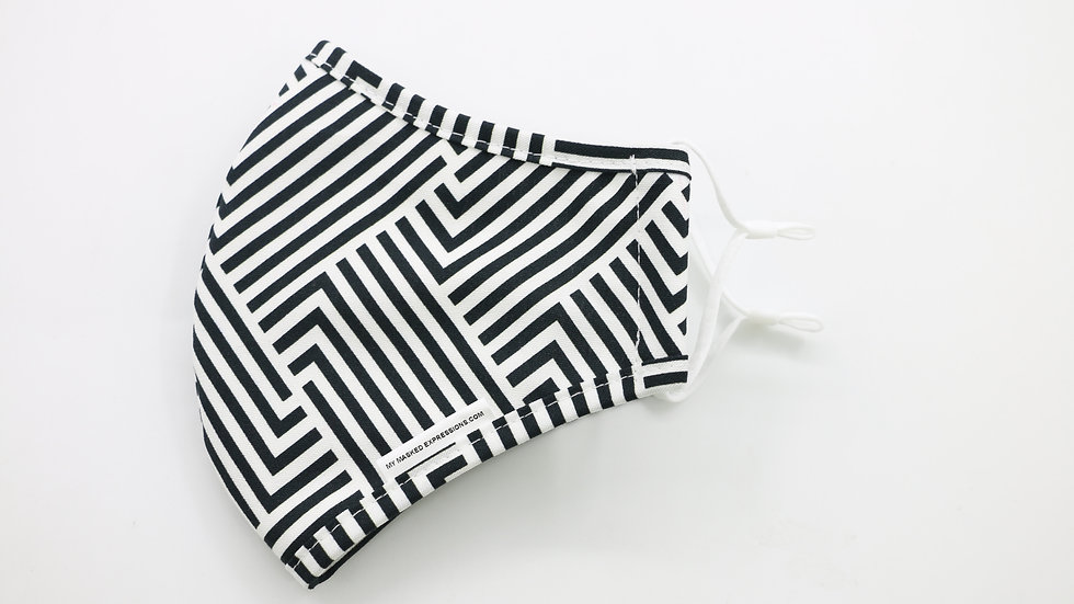 Adult Size Mask, Black & White Stripes