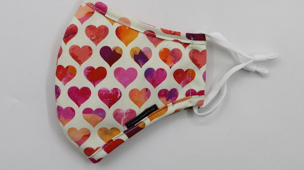 Adult Size Mask, Pink Hearts