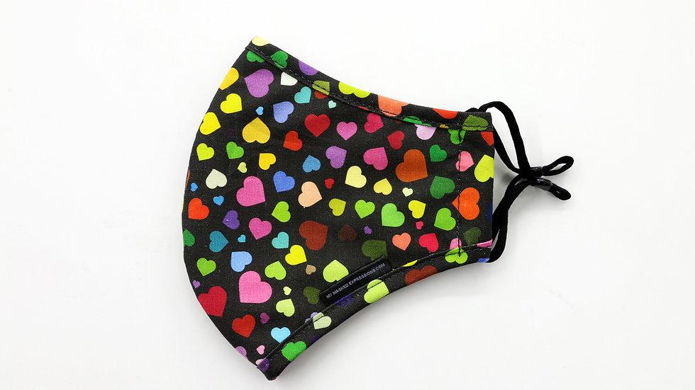 Kids Size Mask, Multicolor Hearts