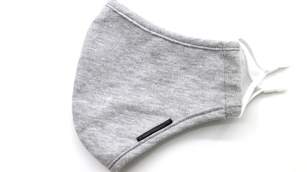 Adult Size Mask, Pebble Grey Jersey Knit Cotton