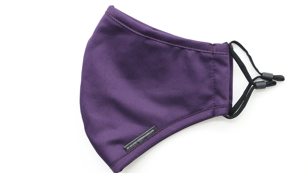 Adult Size Mask, Eggplant Purple Cotton Twill