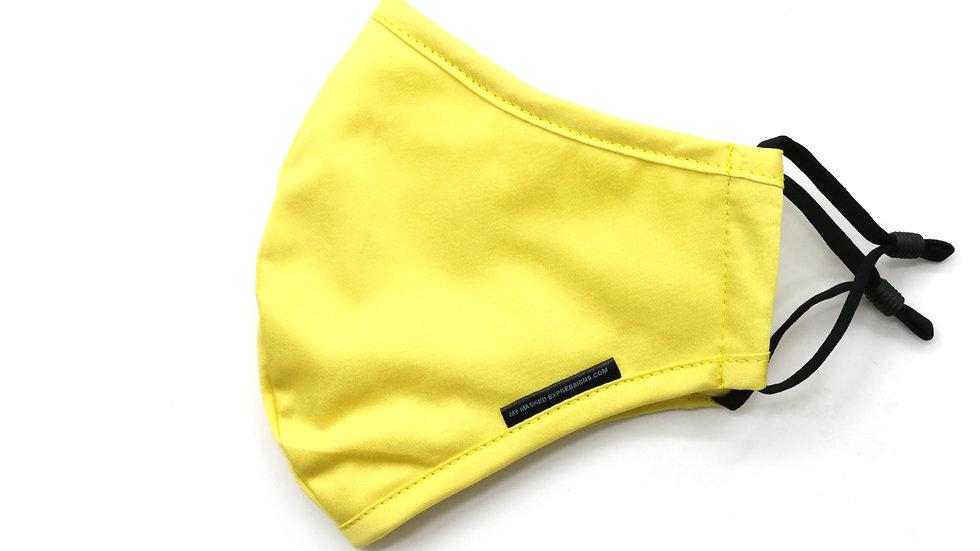 Adult Size Mask, Lemon Yellow Cotton Twill