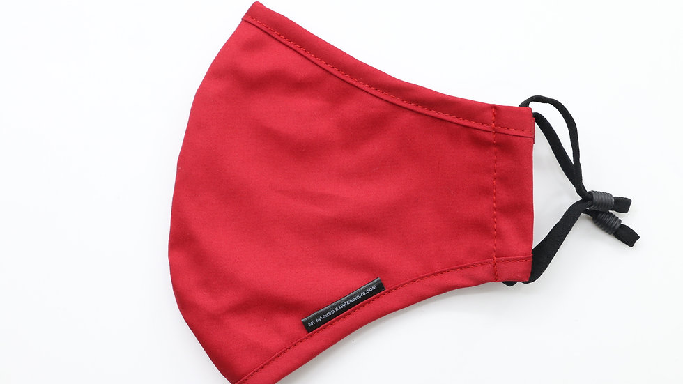Adult Size Mask, Scarlet Red Cotton Twill
