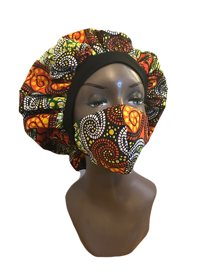 AFRICAN SWIRL BONNET/MASK SET