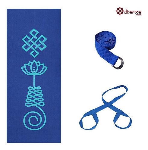 Kit Yoga Azul Premium Unalome + Alça + Cinto De Alongamento
