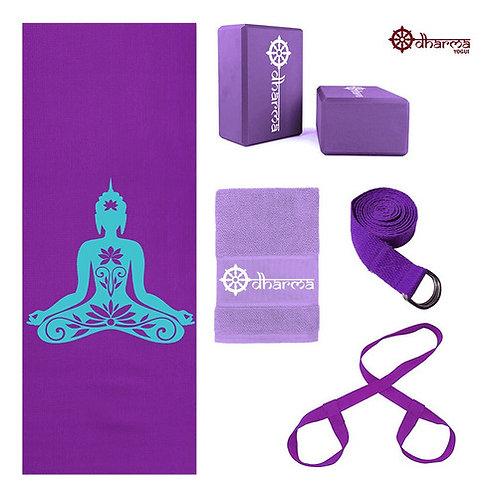 Kit Yoga Roxo Premium Buda+alça+cinto+2 Blocos+toalhinha