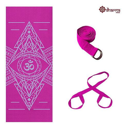 Kit Yoga Rosa Estampa Om Alinhamento 4mm + Alça + Cinto