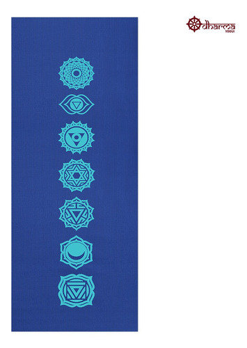 Tapete Yoga Azul Estampa 7 Chakras 1,73m - 4mm