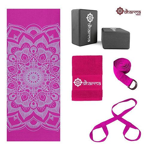 Kit Yoga Completo Rosa Mandala+alça+cinto+2 Blocos+toalhinha