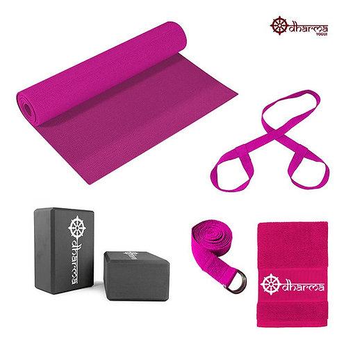 Kit Yoga Completo - Mat Rosa+alça+cinto+2 Blocos+toalhinha