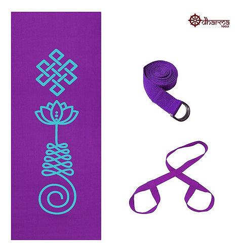 Kit Yoga Roxo Premium Unalome + Alça + Cinto De Alongamento